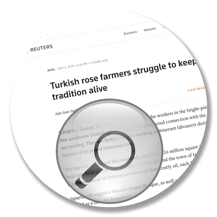 Reuters interview with Nuri Erçetin about turkish rose farmers